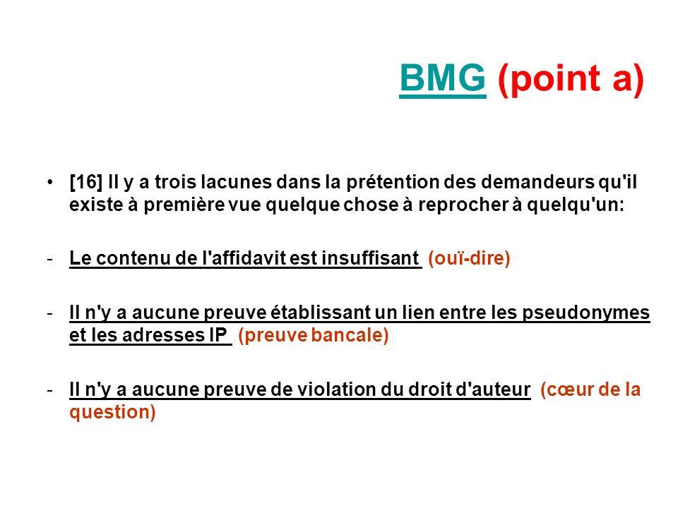BMG (point a)[16] Il y a trois lacunes dans la prétention des demandeurs qu il existe à première vue quelque chose à reprocher à quelqu un: